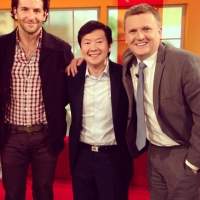 Aled with Bradley Cooper and Ken Jeong for 'Daybreak'.