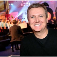 Aled on the set of 'School Choirs' for 'Songs of Praise'.
