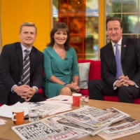 Aled and Lorraine Kelly OBE with David Cameron on 'Daybreak'.