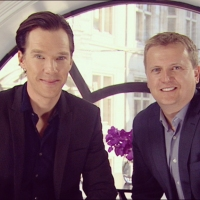 Aled with Benedict Cumberbatch CBE for 'Daybreak'.
